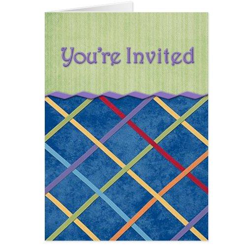 Invitation de ruban de plaid cartes de vœux