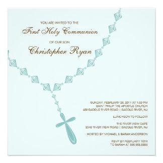 Invitation de sainte communion de chapelet bleu de