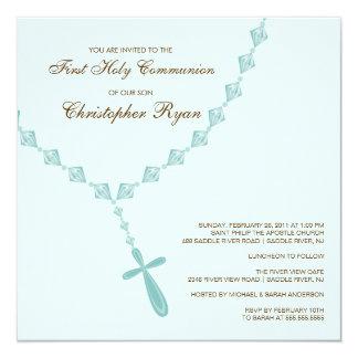 Invitation de sainte communion de chapelet bleu de carton d'invitation  13,33 cm