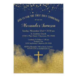 Invitation de sainte communion d'or de bleu marine