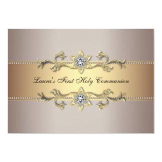 Invitation de sainte communion d'or de filles