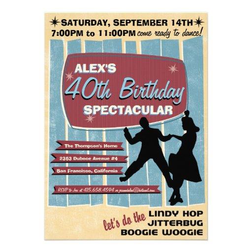 invitation de soirée dansante de l'oscillation 40s