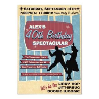 invitation de soirée dansante de l'oscillation 40s carton d'invitation  12,7 cm x 17,78 cm