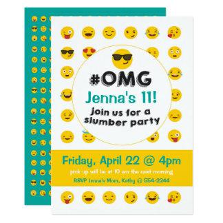 Invitation de soirée pyjamas d'Emoji