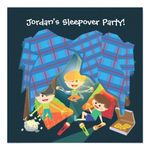 Invitation de soirée pyjamas du Sleepover du garço