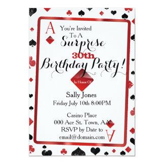 invitation de surprise d'anniversaire de casino
