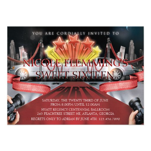 Invitation de sweet sixteen de tapis rouge