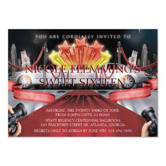 Invitation de sweet sixteen de tapis rouge carton d'invitation  11,43 cm x 15,87 cm