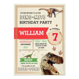 Invitation de T-Rex Dino de fête d'anniversaire de