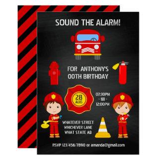 Invitation de tableau d'anniversaire de pompier