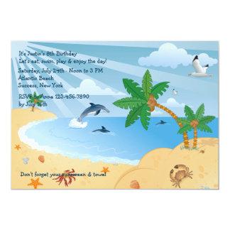 Invitation de tache de plage carton d'invitation  12,7 cm x 17,78 cm