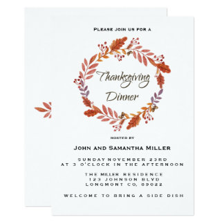 Invitation de thanksgiving d'aquarelle