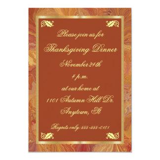 Invitation de thanksgiving de papier marbré de
