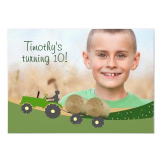Invitation de tracteur : Scène mignonne de ferme Carton D'invitation 12,7 Cm X 17,78 Cm