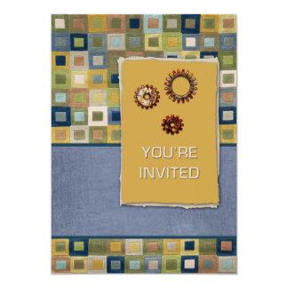 Invitation de tuiles et de pignons 3D de tapis Carton D'invitation 12,7 Cm X 17,78 Cm