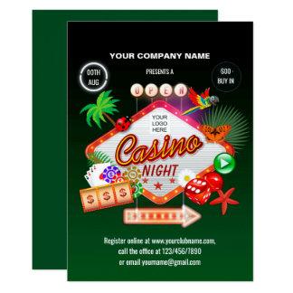 Invitation d'entreprise de nuit de casino de