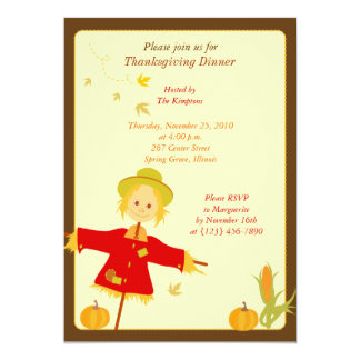 Invitation d'épouvantail de récolte d'automne de
