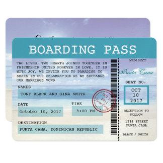 Invitation des Caraïbes de carte d'embarquement de