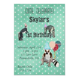 Invitation d'étoile d'anniversaire de lémurs