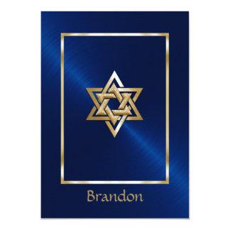 Invitation d'étoile de David de couleurs de Carton D'invitation 12,7 Cm X 17,78 Cm