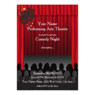 Invitation d'exposition d'étape de comédie d'arts