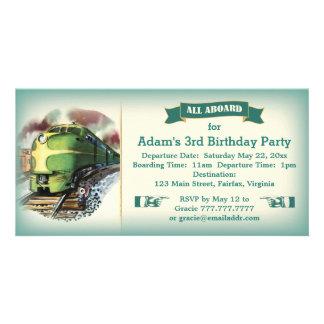 Invitation diesel vintage de fête d'anniversaire carte avec photo