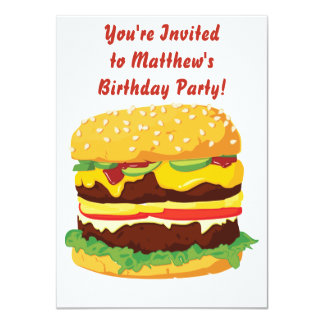Invitation d'invitation de partie de cheeseburger