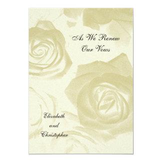 Invitation d'or de renouvellement de voeu de roses