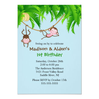 Invitation douce d'anniversaire de jumeaux de carton d'invitation  12,7 cm x 17,78 cm