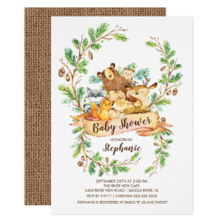 Invitation douce de baby shower d'animaux de
