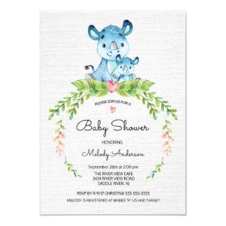Invitation douce de baby shower d'hippopotame de