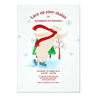 Invitation d'ours blanc de patinage de glace