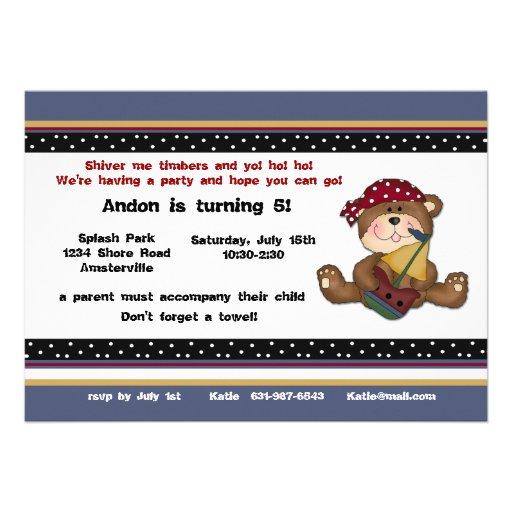 Invitation d'ours de pirate