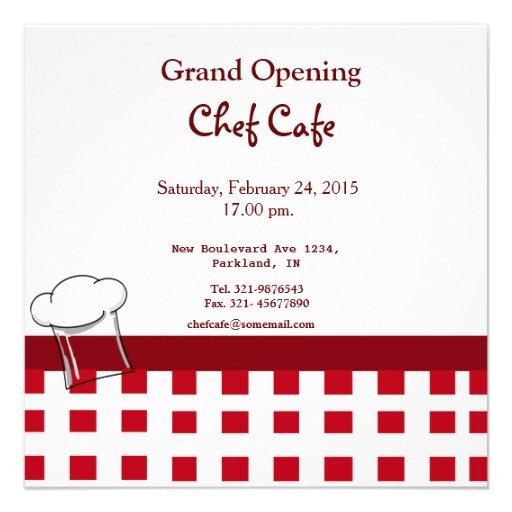 Invitation d'ouverture officielle de café
