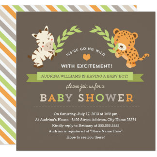 Invitation doux de baby shower de safari