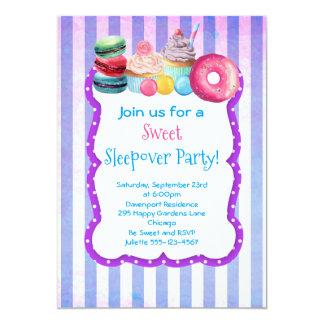 Invitation doux de partie de Sleepover de gâteau