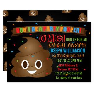 Invitation drôle de fête d'anniversaire d'Emoji de