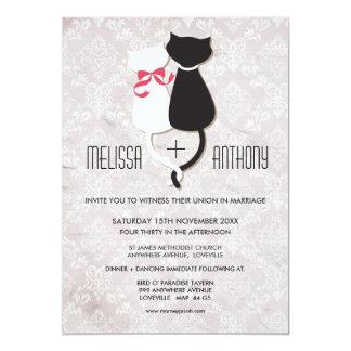 Invitation drôle vintage de mariage damassé de carton d'invitation  12,7 cm x 17,78 cm