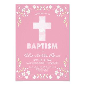 Invitation du baptême de la fille - rose, croix
