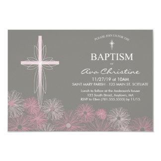 Invitation du baptême du bébé avec la croix,