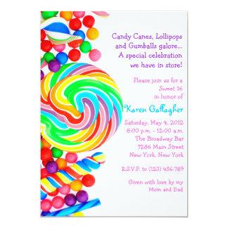 Invitation du bonbon 16 à thème de sucrerie de