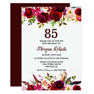 Invitation élégant floral de fête d'anniversaire