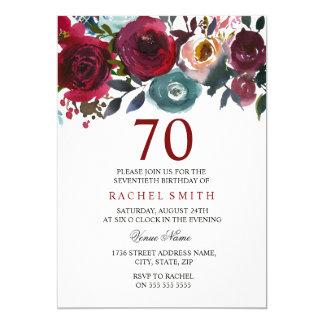 Invitation élégant floral rouge d'anniversaire de