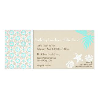 Invitation élégante 2 de partie de motif de plage carton d'invitation  10,16 cm x 23,49 cm