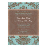 Invitation élégante bleue de mariage damassé