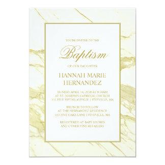 Invitation élégante de baptême d'or de marbre de