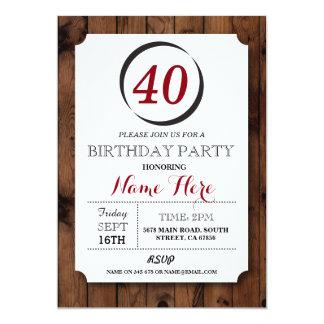 Invitation en bois d'anniversaire de surprise de