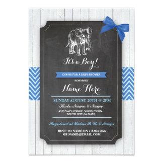 Invitation en bois de baby shower d'éléphant de