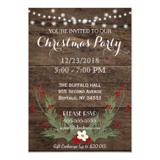 Invitation en bois de fête de Noël de pays