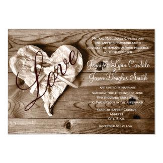 Invitation en bois de mariage de coeur d'amour de carton d'invitation  12,7 cm x 17,78 cm